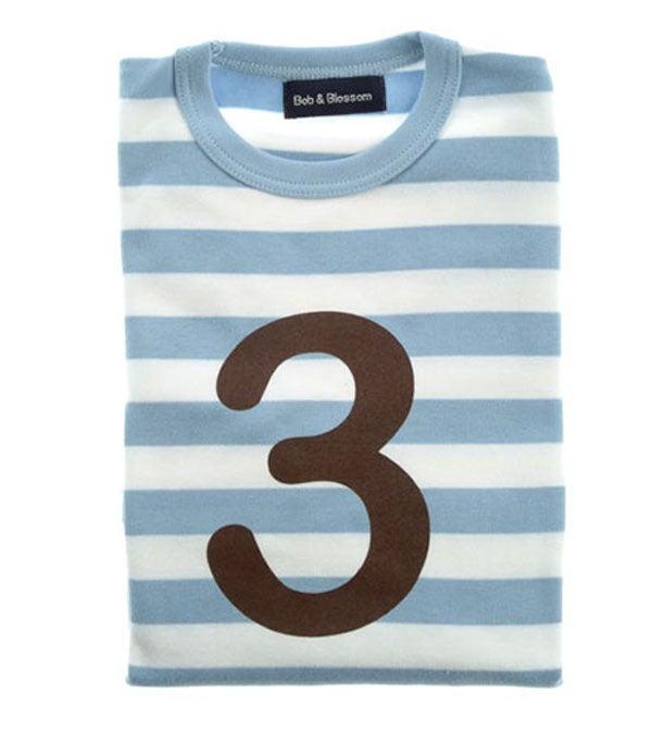 Image of Birthday Tee (No. 1-5), Sky Blue & White