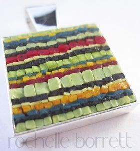 Image of Square Green Stripe Pendant