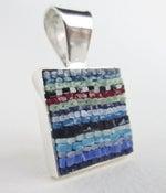 Image of Square Blue Stripe Pendant