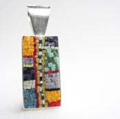 Image of Rectangle with Multi-colored Pendant