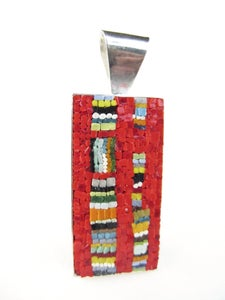 Image of Rectangle Red with Stripes Pendant
