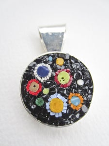 Image of Round Black with Circles Pendant