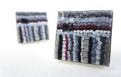 Image of Square Gray Pin-striped Cufflinks