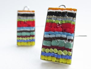 Image of Rectangle Striped Earrings