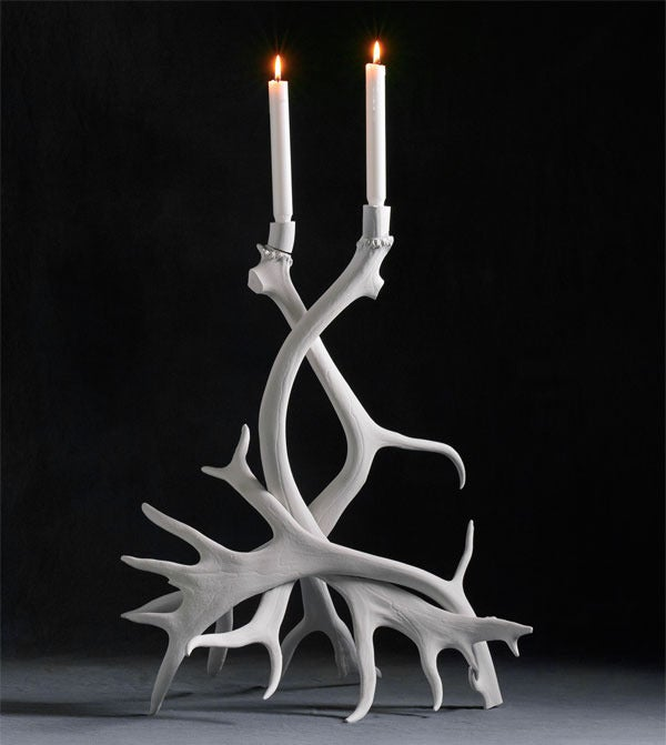 Image of Tall Swedish Reindeer Candlestick, White