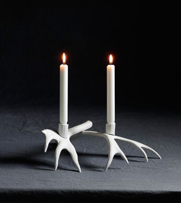 Image of Reindeer Candleholder (2 Arms/White)