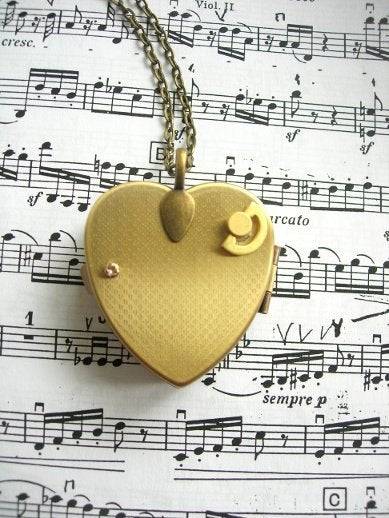 Image of Love My Bicycle Miniature Music Box Heart Locket