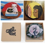 Image of *SOLD OUT* wearable art wood slice brooch