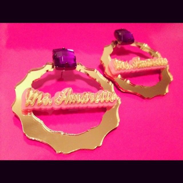Image of Cheryl's Dope Bamboo Earrings Custom Name plates