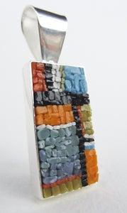 Image of Rectangle Orange and Turquoise Paned Pendant