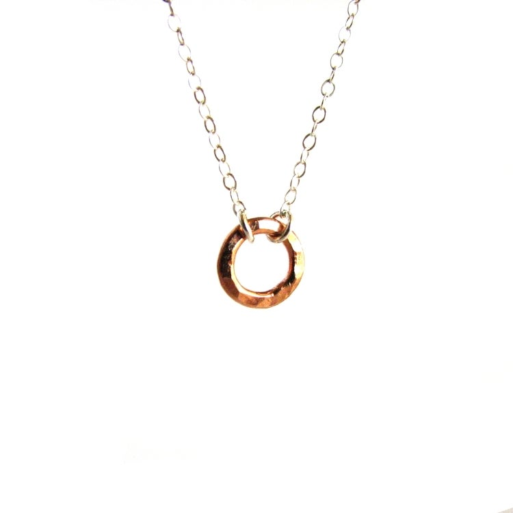 Tiny Rose Gold Circle Necklace Sterling Silver Kahili Creations Handmade Jewelry From Hawaii