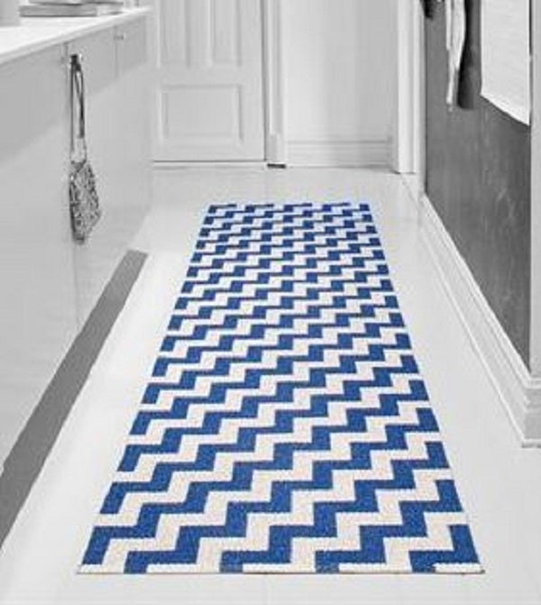 "Image of Handwoven Plastic Rug ""Gunnel"" (Blue)"