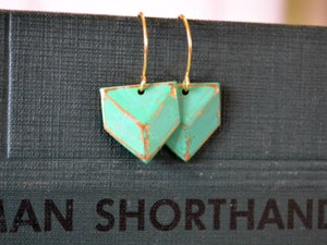 Image of Verdigris Chevron Dangles