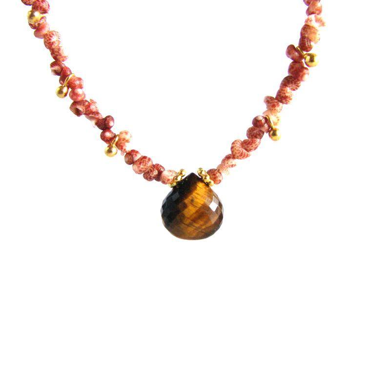 Image of Kahelelani shell necklace with Tiger's Eye