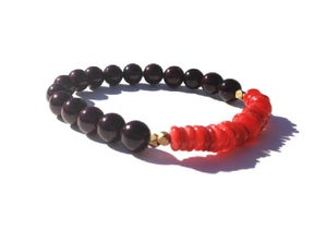 Image of Alex Bracelet {oxblood+ red +bronze}