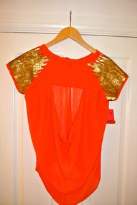 Image of Fun and Flirt Size Small - Coral chiffon sequinned backless top