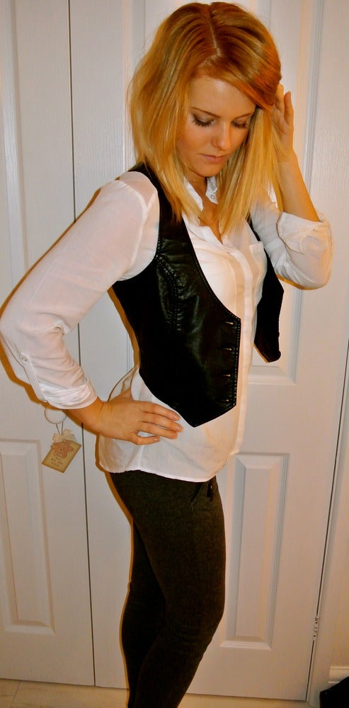 Image of Black Leather vintage style waistcoat