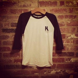 Image of K Clothing Print Navy/White Baseball 3/4 length.