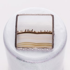 Image of Antique Tree Moss Agate Pin