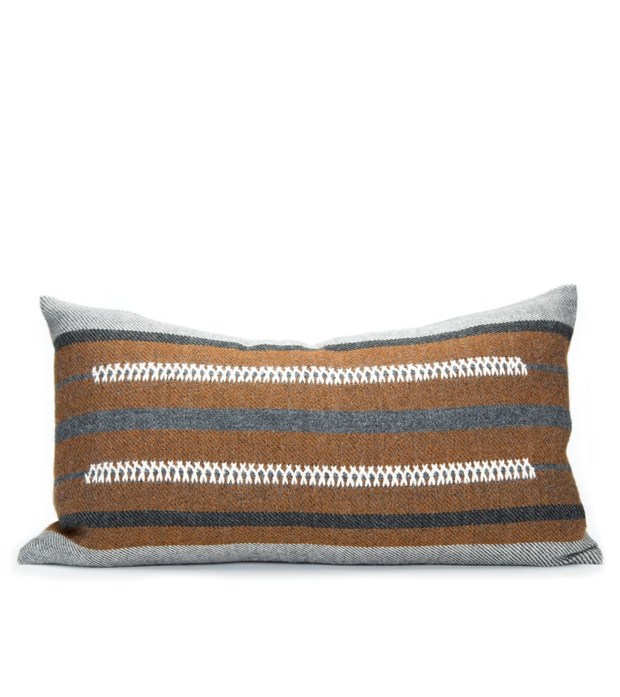Image of BAU CHIEF PILLOW charcoal/cognac 12x20