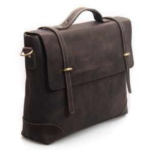 """Image of Vintage Handmade Antique Crazy Horse Leather Briefcase Messenger 14"""" Laptop / 13"""" MacBook Bag (n366)"""