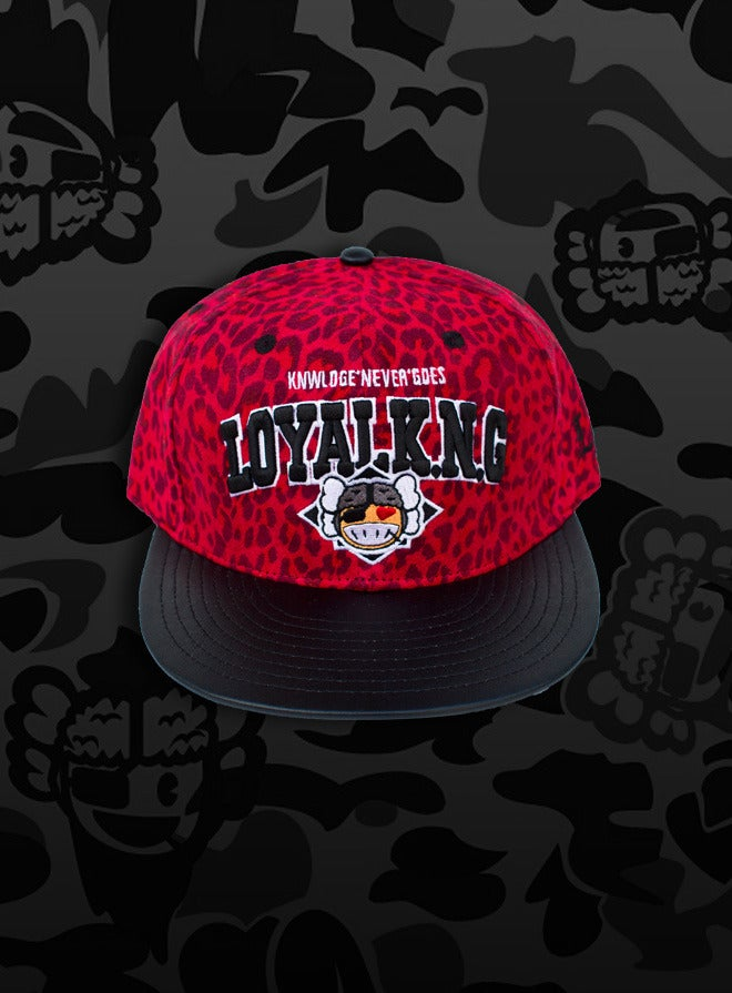 Image of Rebellious Loyal K.N.G. Strapback Cap - Red-Leopard Suede