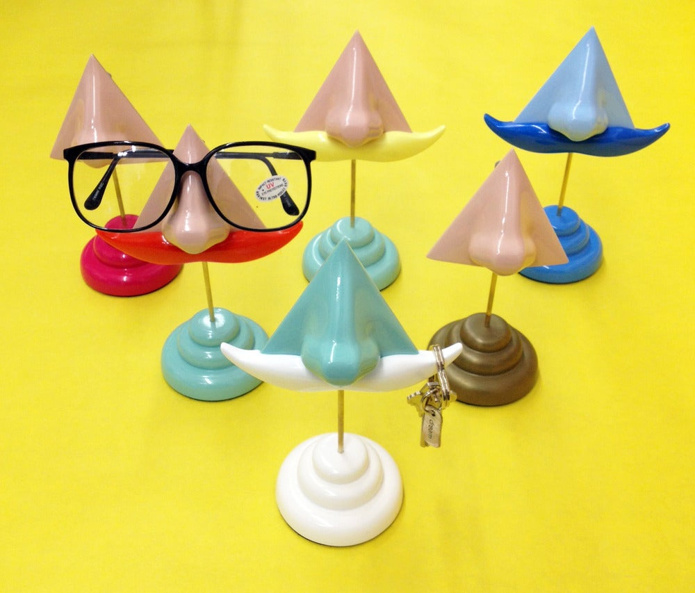 Image of Nose Eyeglass Stand and Key Hook Mustache