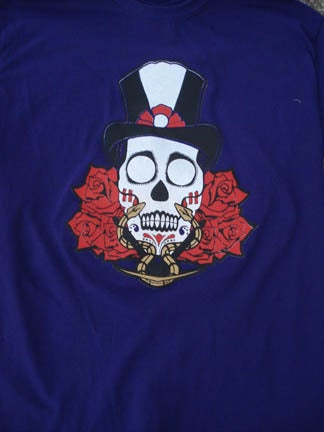 Image of SHANGO SUGAR SKULL W/ GOLD METALLIC INK T-SHIRT PURPLE GLOW IN THE DARK EDITION