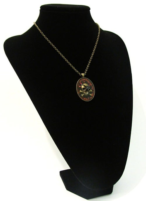 Image of Ruby Rocks Skullie Bronze Pendant