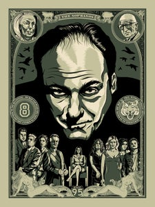"Image of ""The Sopranos"" Screenprinted Poster - LAST FEW! EXTRAS/RETURNS/DAMAGED"