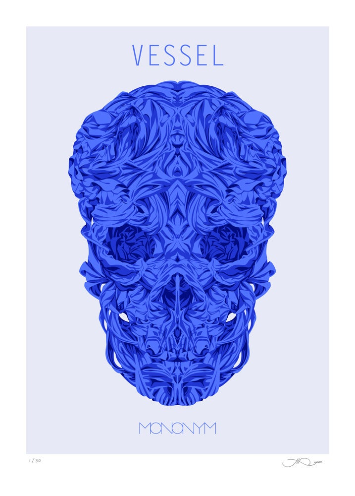 Image of Vessel (Blue skull) screen print