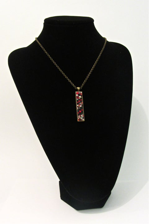 Image of Ruby Rocks Long Skinny Bronze Pendant