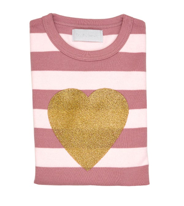 Image of Heart Tee Vintage & Powder Pink Striped