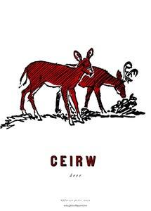Image of fforest cymraeg prints: 'ceirw' deer