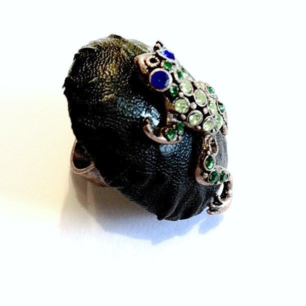 Image of Leather Jewelled Frog Ring
