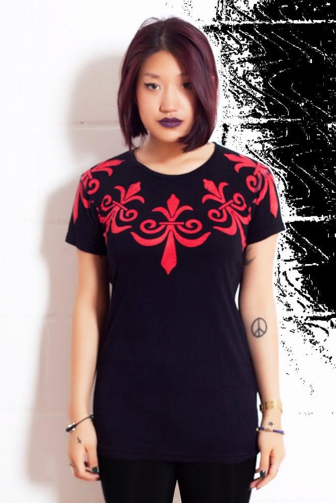 Image of Batik Red Fleur de Lis T