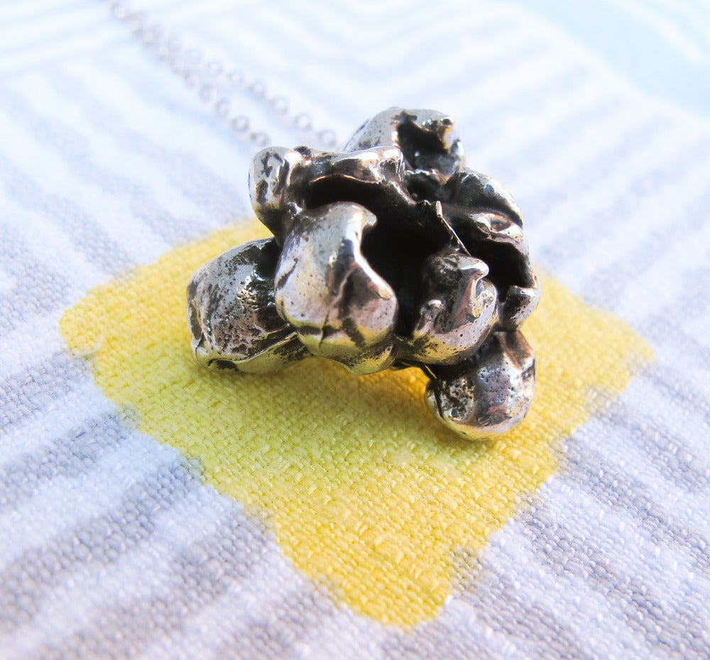 Image of Solid Sterling Silver Popcorn Necklace