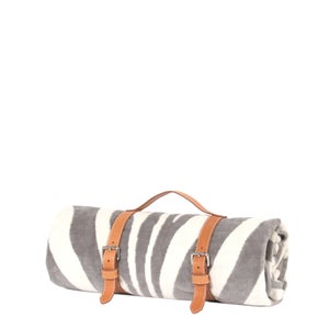 Image of Grey Zebra Hide Beach Towel - Classic Strap