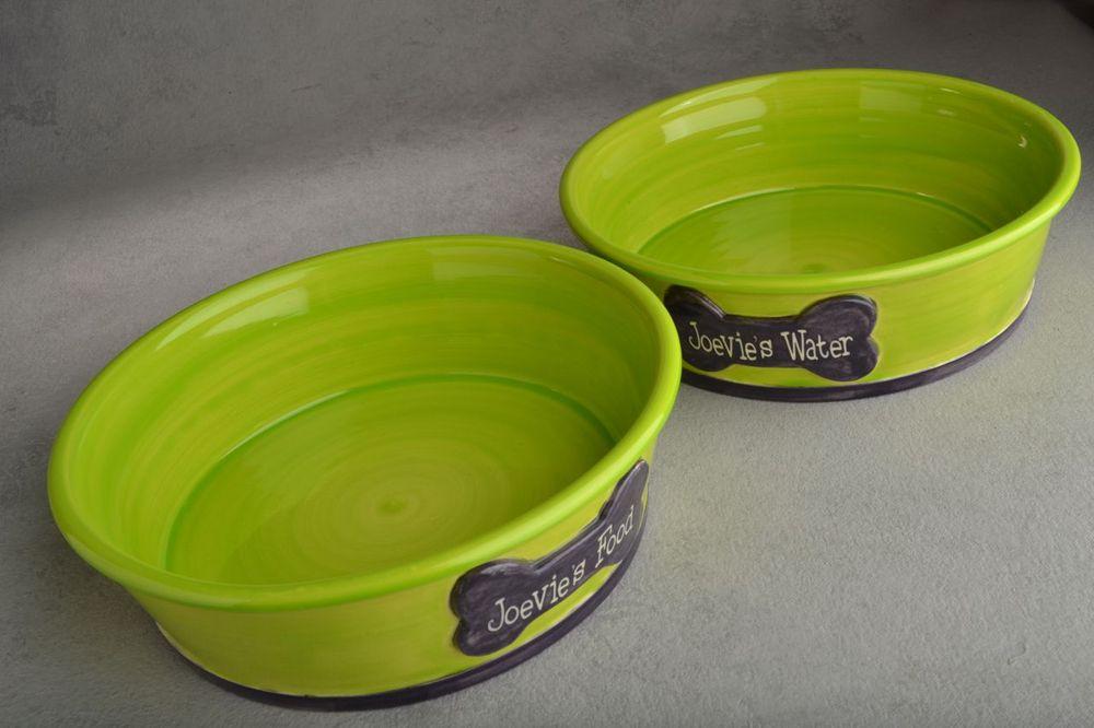 Image of Large Dog Bowl Set Smooth Sided