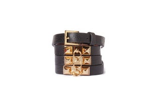 Image of Black Leather Beltlett with Gold Double Pyramid Studs