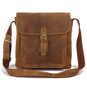 Image of Vintage Handmade Genuine Crazy Horse Leather Messenger Bag Satchel / iPad Bag (n81)
