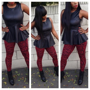 Image of Black Crocodile Peplum Top