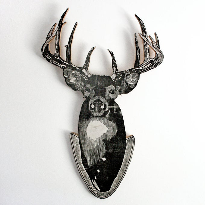 Image of Uncle Randy's Deer Woodcut Sculpture Print