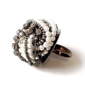 Image of Pearl Bead & Gem Crown Ring