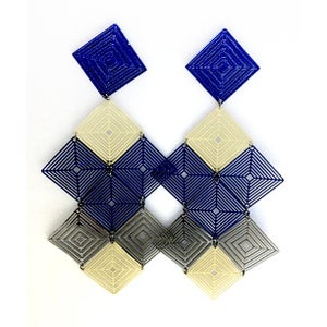 Image of Limited Edition Diamond Yellow & Blue Earrings