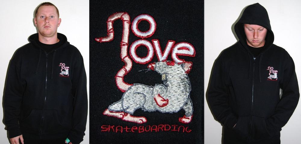 Image of noLove Lab Rat Zip-Up Hoody Black