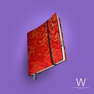 Image of Whitebook Haute Couture H019, Silk brocade, red with dragoons, 240p. (fits iPad)