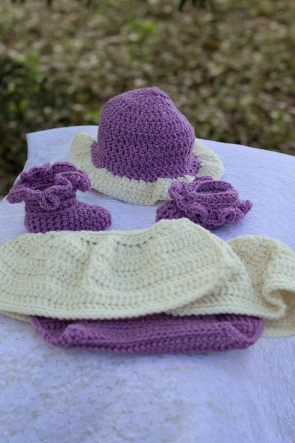 Image of Purple diaper cover with off-white skirt set