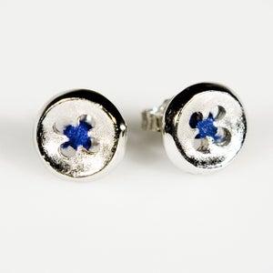 Image of Oorknoopjes/oorbellen groot met blauwe draad, juwelen Antwerpen