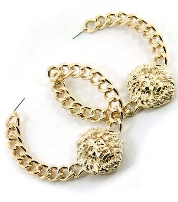 Image of Lion Chain Hoop Earrings